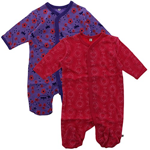 Pippi 2er Pack Baby Mädchen Schlafstrampler mit Aufdruck, Langarm mit Füßen, Alter 1-2 Monate, Größe: 56, Farbe: Pink, 3821