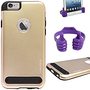 DMG Motomo Ultra Tough Metal Shell Case with Side TPU Protection for Apple iPhone 6 Plus (Gold) + Mobile Holder Hand Stand