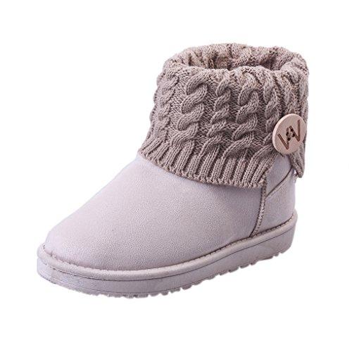 Landove stivali da neve donna bassi invernali calde stivaletti caviglia con button in maglia eleganti snow boots vintage scarpe a collo alto scarponi per sci snowboard caccia