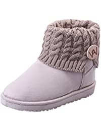 Landove Stivali da Neve Donna Bassi Invernali Calde Stivaletti Caviglia con  Button in Maglia Eleganti Snow 9ee6d58dc27