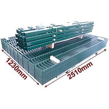 Doppelstab-Mattenzaun Komplett-Set / Grün / 123cm hoch / 120m lang / Metallzaun Zaun Zaunanlage Gartenzaun