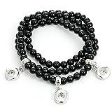 Morella Damen SMALL Click-Button 12 mm Wickelarmband Naturstein Perlen schwarz