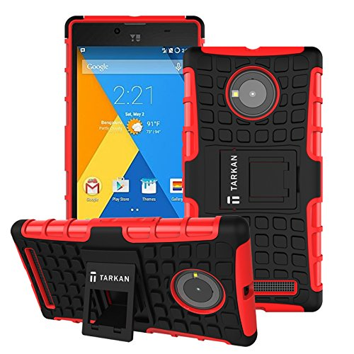 TARKAN Hard Armor Hybrid Rubber Bumper Flip Stand Rugged Back Case Cover For Micromax YU Yuphoria- Red