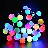 Minger LED Lichterkette 16.4ft 5m 50er RGB Kugeln Bunt für Zimmer, Weihnachten, Party, Hochzeit, Garten, Zeremonie, Feier Beleuchtung Deko(Euro Stecker)
