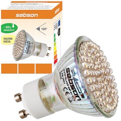 GU10 80 DIP LED [sebson®] (300lm - Warm-Weiß - 80 x LED - 120º Abstrahlwinkel - GU10 Sockel - 230V AC - 3W - Ø50×55mm) von sebson-media - Lampenhans.de