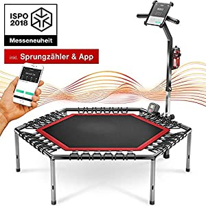 Messe-Neuheit 2020! Smart Fitness Trampolin, inkl. Pulsgurt, Trainings-Video, TÜV/GS, Sprungzähler & APP, klappbar, Haltegriff verstellbar, Handy- & Flaschenhalterung, HTX100 Indoor Jumping Workout