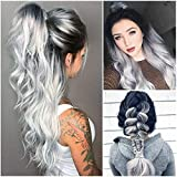 Frisé Perruque Cheveux Plein Haute Température Fibre Cheveux Cosplay pour Femme Flle (Dégradé de Cyan Noir)