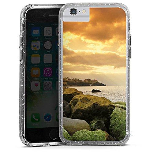 Apple iPhone 7 Bumper Hülle Bumper Case Glitzer Hülle Kueste Landschaft Fels Bumper Case Glitzer silber