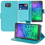 Funda tipo libro con soporte para vídeo y tapa de piel sintética, para Samsung Galaxy Alpha SM-G850F/ Galaxy Alfa / Alpha (S801) / G850FQ G850Y G850A G850T G850M G850W G8508S