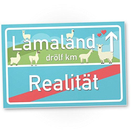 Lamaland Kunststoff Schild, kleines persönliches Geschenk für sie - süße Lama Deko, Wanddeko, Türschild Mädchen Wohnung / Zimmer, Geschenkidee Geburtstagsgeschenk beste Freundin, Party Deko mit Lamas