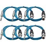 "Seismic Audio Seismic 6 Pack Blue 1/4"" TRS XLR Female 2' Patch Cables Blue - SATRXL-F2Blue6"