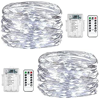 Fairy String Lights, 2 Set de 60 luces LED de hada de cobre impermeables con mando a distancia, 8 modos de luz decorativa para el hogar, dormitorio, Navidad, centro de mesa, fiesta, boda (blanco)