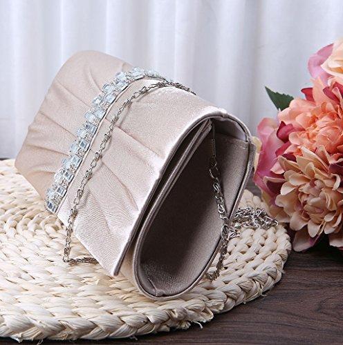 Dairyshop pochette da giorno donne alla moda sposa della festa nuziale partito promenade della borsa frizione (Colore Cammello) Colore Cammello