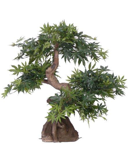artplants Künstlicher Ahorn Bonsai KAMARU im Erdballen, grün, 55 cm – Plastik Bonsai/Bonsai Baum