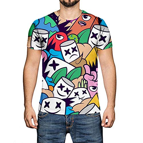 o Maske Kostüm DJ Fans T Shirt EDM Cooler Elektrischer Ton T-Shirt Hiphop Top Straßenfashion Kurzarm Rundhals Tee für Damen Herren Liebespaar Jugendliche,S-XXXXXL2-XXXXL ()
