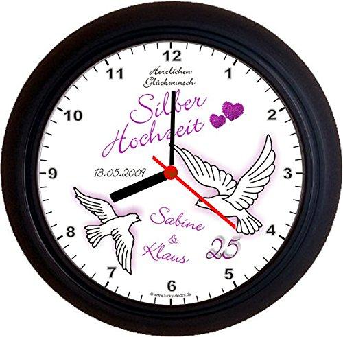 Lucky Clocks TAUBEN ZUM 25. HOCHZEITSTAG SILBERHOCHZEIT lila Wanduhren für jeden Anlass mit jeder Beschriftung und jedem Vornamen Namen erhältlich