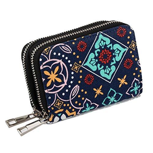 Damen Portemonnaie Kreditkartenetui Geldbörse mit RFID SCHUTZ, Reißverschluss und 13 Fächer