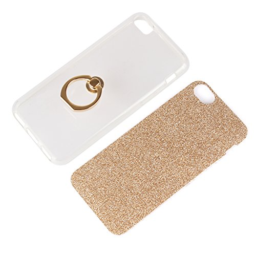 iPhone 5C Custodia, SHANGRUN 2 in 1 Luccichio Bling Silicone TPU Gel del Anello Supporto Custodia Ring Stand Holder Protezione Custodia Cover Case per iPhone 5C Blu Bianco