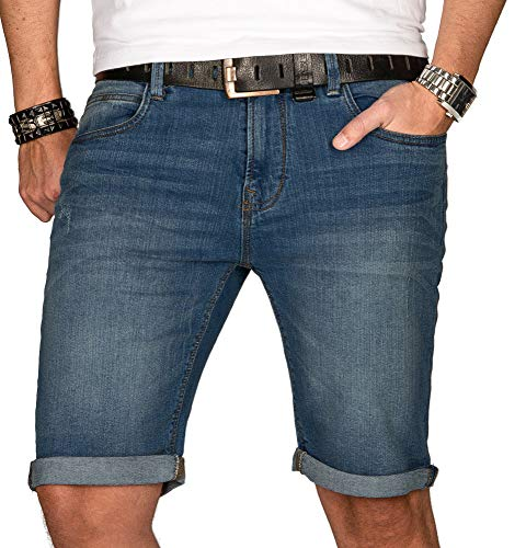 Indicode Herren Sommer Jeans Shorts Kurze Hose Sommerhose Short Bermuda B556a (Gr. XL, Mittelblau) -