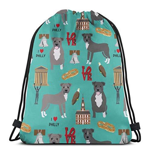 best gift Pitbulls In Philly - Pitbull Philadelphia, Travel, Dog, Us, Cities Design - Turquoise_25690 Custom Drawstring Shoulder Bags Gym Bag Travel Backpack Lightweight Gym for Man Women 16.9