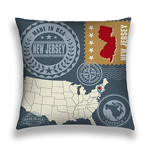 ge Throw Pillow Cover Pillowcase Abstract Post Stamps Set New Jersey usa Abstract Post Stamps Set Name map New Jersey usa Sofa Home Decorative Cushion Case 18