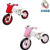 G4RCE Wooden Balance Bike Kids Running Walking Lightweight Training Bikes + Bell & Basket (Red)