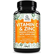 Vitamin C 1200mg & Zinc 40mg per Daily Serving - Maintenance of Normal Immune System - 120 Vegetarian Capsules with Ascorbic Acid - 3 Month Supply - Made in The UK by Nutravita
