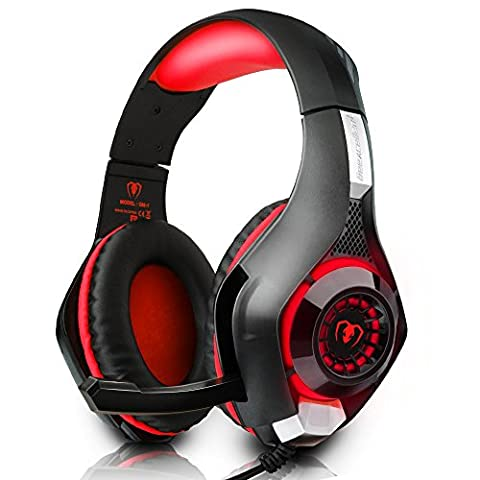 iBeek Casque Gaming Surround Sound Basse Stéréo Casque Gamer Filaire avec Micro Noise Cancellation Gaming Headset pour PC PS4 Xbox One Laptop Tablette [3.5mm Audio Jack, LED Lumière, Contrôle du Volume]