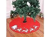 Grandes Ideas de Navidad Falda de árbol de Alce de Navidad Adornos de árbol de Navidad Accesorios de decoración de Navidad (Rojo + Blanco)