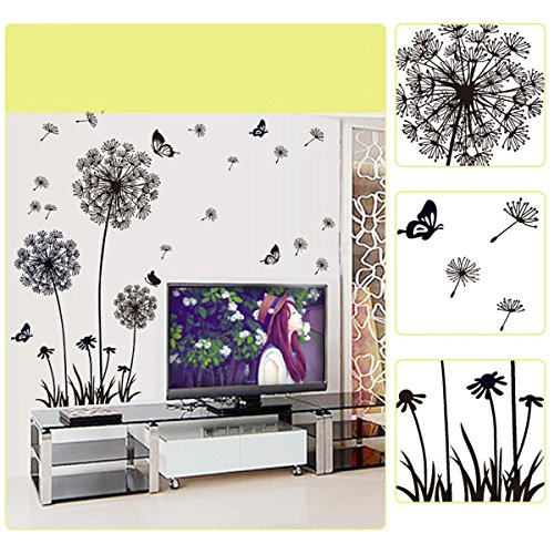 yesurprise-vinilo-decorativo-pegatina-pared-para-sala-dormitorio-diente-de-leon-mariposas-color-negr