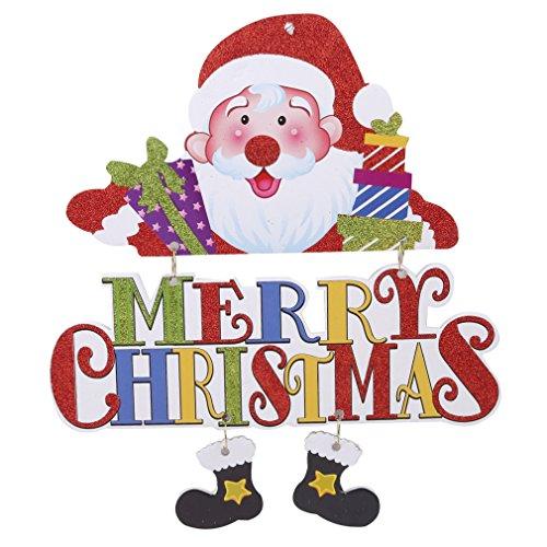 oorboard Weihnachtsbaum Dekoration Tür hängen Frohe Weihnachten Wand Tür Fenster Hängen Ornamente Weihnachtsdekoration Lieferungen für Home Xmas Decorative Sign,Glitter + beschichtetes Papier + EPS-Platte,B166 Karikatur-Alphabet-alter Mann ()