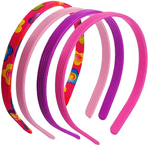 """4 tlg. Set: Haarreifen / Diademe - """" Blumen Muster & einfarbig - bunt / rosa - pink - lila """" - für Kinder - Mädchen Schmuck Haarreifen - Blüte Blume / Haare Haarband - Haarschmuck - Kinderschmuck - Kopfschmuck - Accessoires - Stoffhaarreifen - Stoff"""