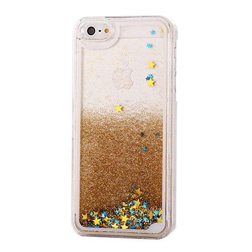 iPhone SE, 5S & 5 Design Glitzer-Handyhülle mit Glitzerflüssigkeit   3D-Schneekugel-Effekt mit bunten Sternen   Handytasche   Handy-etui   TPU-Bumper   hochwertiges Hard Case   Cover für den optimalen Schutz ihres iPhones von SphinxGear (gold)