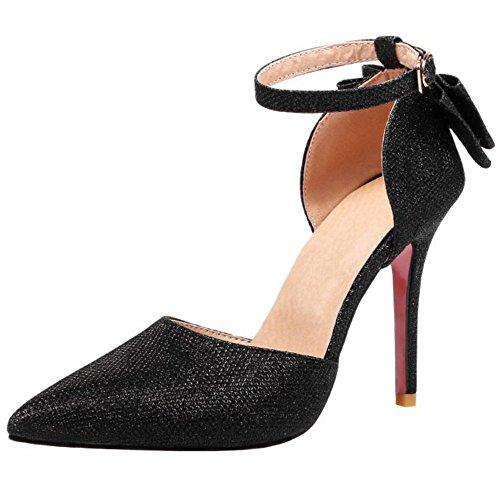 Zanpa Donna Mode T Strap Sandali With Fiocco Black