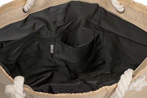 styleBREAKER Strandtasche XXL mit Stern Print in Bast Optik und Reißverschluss, großer Shopper, Badetasche, Damen 02012166, Farbe:Braun-Weiß Braun-Pink