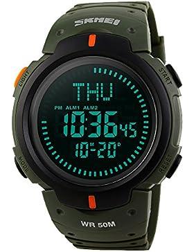 Amstt Herren Uhren Boy 's Digital Sport Uhr Militär Kompass Armbanduhr Wasserdicht Armee-Grün Armbanduhren