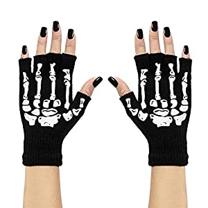 WIDMANN?Par de guantes sin dedos Esqueleto Mens, negro, talla única, vd-wdm95703