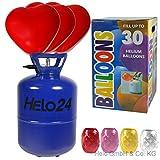 Helo Helium Ballon Gas 0,25m³ (13,4 Liter Flasche) für 30 Ballons inkl. 30 Herz Luftballons (rot), Einweg Helium Gasflasche mit Sperrvorrichtung und Knickventil für einfache Befüllung