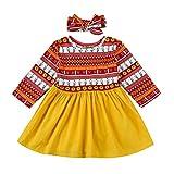 Robe Bébé, filles Robe de soirée à manches longues habiller floral robe bandeau costumes (Multicolor, 12M)