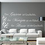 WANDTATTOO Das Gestern ist Geschichte...Spruch Wanddekoration Wohnzimmer Flur Farbe./Größenauswahl art.23091.