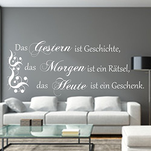 WANDTATTOO Das Gestern ist Geschichte…Spruch Wanddekoration Wohnzimmer Flur Farbe./Größenauswahl art.23091.