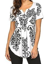 f6b9bcf18 Defal Women Summer Short Sleeve V Neck Floral Print Blouses Shirts Casual  Irregular Hem Flowy Lightweight
