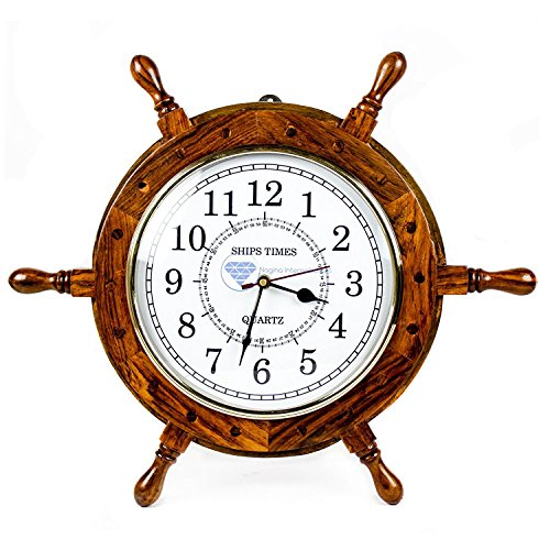 Nautisches handgefertigt Holz Schiff Rad mit Quarz Mal Wanduhr–Pirat Kinderzimmer Home Decor–Nagina International, holz, White Dial Face, 30,48 cm