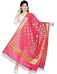 Rani Saahiba Art Katan Silk Zari Woven Dupatta ( SKRDD1280_Pink )