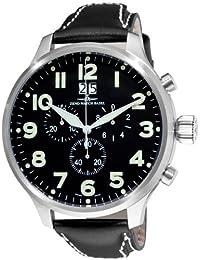 Zeno hombre 6221–8040A1Super Oversized negro cronógrafo dial reloj