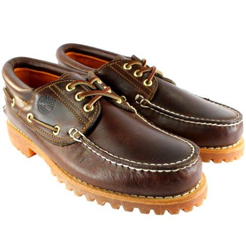 Timberland Herren Schuhe Heritage Classic Lug Leder Schnürsenkel Bootsschuh - Braun - 46.5 -