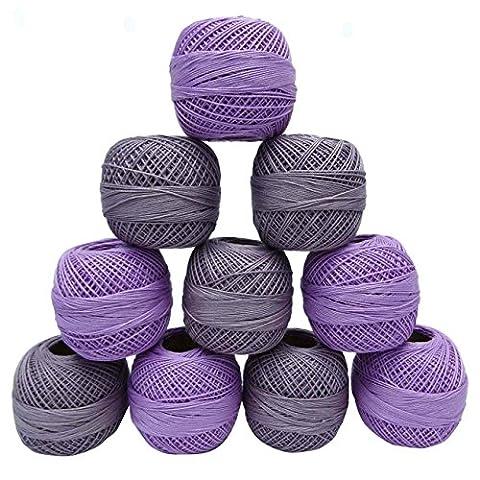 Violet 10 Pcs en coton mercerisé Fil Crochet Frivolité broderie