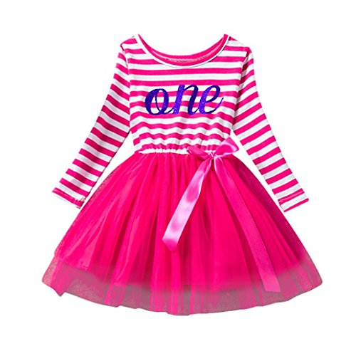 Elecenty Mädchen Prinzessin Kleid,Baby Streifen Kinder Partykleid Cocktailkleid Kleider...