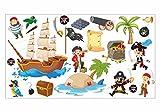 nikima Schönes für Kinder 063 Wandtattoo Pirat Kapitän Schiff Insel Schatztruhe - in 6 Größen - Kinderzimmer Sticker Wandaufkleber Wandsticker Wanddeko Wandbild Junge Mädchen - Größe 1000 x 560 mm
