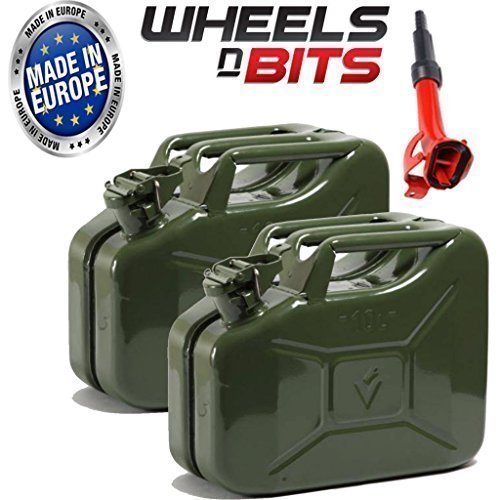 2 x NEW HIGH QUALITY METAL POWER COATED INSIDE AN OUT JERRY CAN 10L LITRE CAN WITH A SPOUT